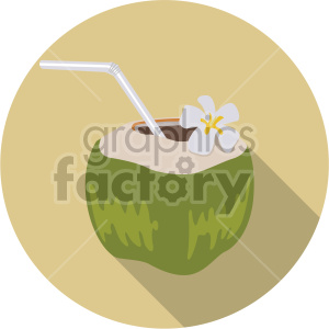coconut water on circle background flat icons clipart. Royalty-free image # 407167