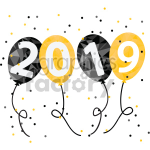 2019 new years eve party balloons vector art
