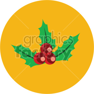 christmas holly berries on yellow circle background icon