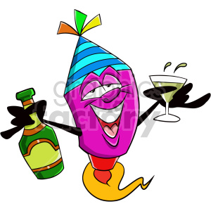 cartoon new years eve party character clipart. Commercial use image # 407375