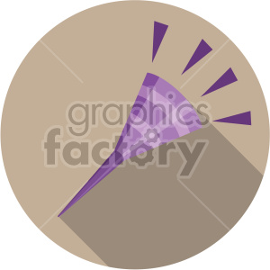 party noise maker on brown circle background clipart. Commercial use image # 407401
