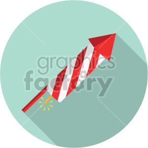 firework rocket on teal circle background clipart. Commercial use image # 407407