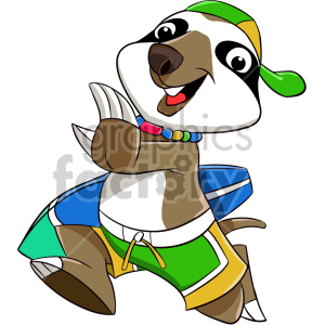 cartoon sloth surfer clipart. Commercial use image # 407584