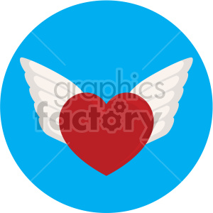 heart with wings for valentines blue background clipart. Commercial use icon # 407612