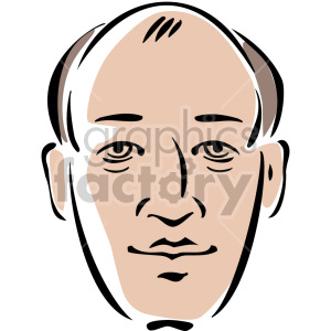 bald man's head clipart. Commercial use image # 157269