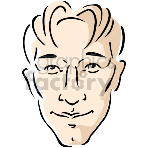 cartoon millennial man's face clipart. Commercial use image # 157413