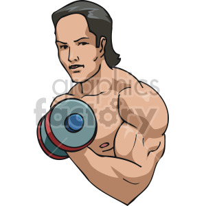 guy doing  bicep curls clipart. Royalty-free image # 170207