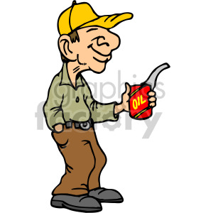 Cartoon mechanic holding an oil can clipart. Royalty-free image # 160477