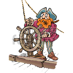 cartoon captain on a ship clipart. Commercial use image # 407813
