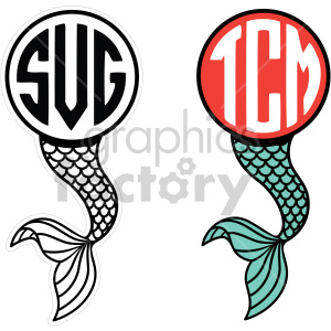 mermaid tail cut file clipart. Commercial use image # 407821