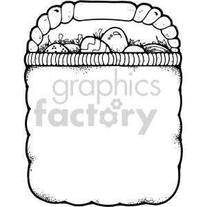 easter basket 003 bw clipart. Commercial use image # 407873