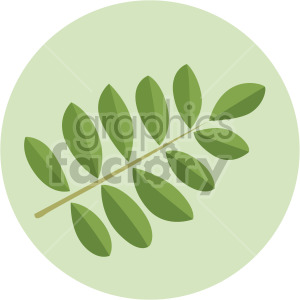 rowan leaves on green circle background clipart. Royalty-free image # 408055