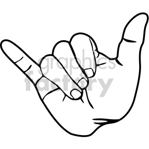 hand hang loose sign black white