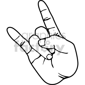 hand devil horns black white clipart. Commercial use image # 408095