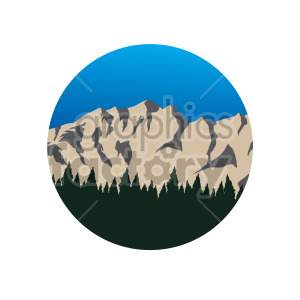 blue sky mountain forest scene circle design clipart. Commercial use image # 408316