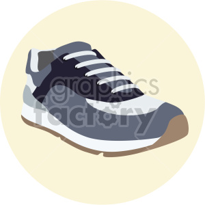 tennis shoe on yellow circle background clipart. Commercial use image # 408349