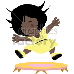 cartoon african american girl jumping on small trampoline clipart. Commercial use image # 408412
