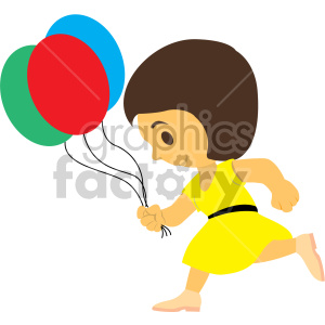 girl running with balloons clipart. Commercial use image # 408413