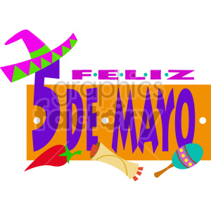 5 de mayo cartoon typography clipart. Commercial use image # 408415