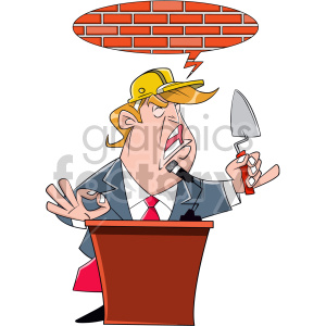 Donald Trump speaking at podium holding small shovel clipart. Commercial use image # 408423