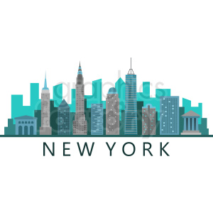 new york city skyline flat vector design with label clipart. Commercial use image # 408552