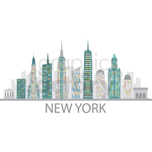 new york city skyline vector design with label clipart. Commercial use icon # 408557