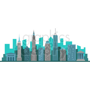 new york city skyline flat vector design clipart. Royalty-free image # 408607