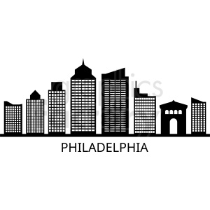 black philadelphia city skyline vector with label clipart. Royalty-free image # 408630