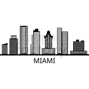 black miami city skyline vector
