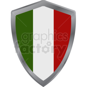 italy flag shield icon design on white background clipart. Commercial use image # 408867