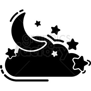 black and white moon and stars icon vector clipart. Commercial use image # 409204