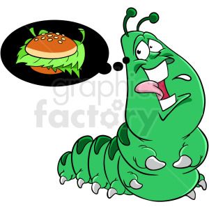 caterpillar dreaming of food clipart. Commercial use image # 409272
