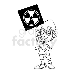 black and white cartoon protestor protesting toxic radiation clipart. Royalty-free image # 409311