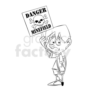 black and white cartoon protestor protesting weapons of war clipart. Royalty-free image # 409322