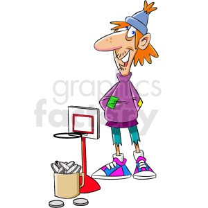 homeless man basketball game for tips clipart. Commercial use image # 409324