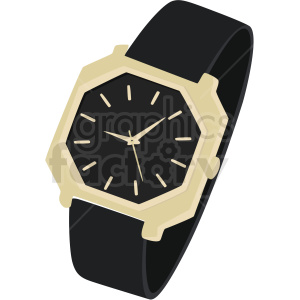 vector black and gold wrist watch no background clipart. Royalty-free image # 409485