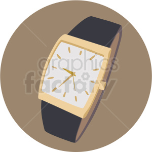 classy wrist watch brown circle background clipart. Commercial use image # 409491
