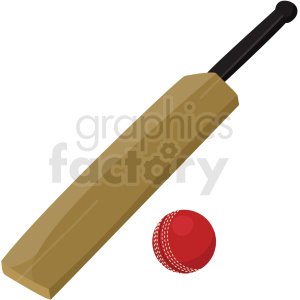 cricket bat and ball vector clipart no background