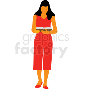 woman reading a book vector clipart clipart. Royalty-free image # 409636