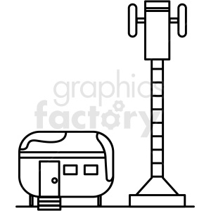 clipart - black and white base camp site icon.