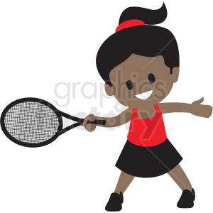 cartoon African American girl playing tennis clipart. Commercial use image # 409956