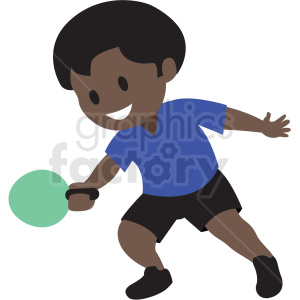 cartoon African American boy playing ping pong clipart. Commercial use image # 409963
