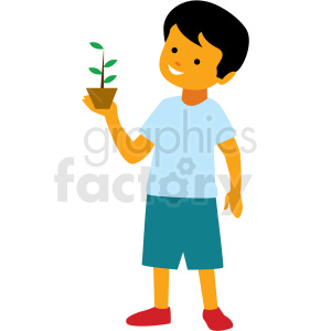 boy holding plant vector clipart clipart. Commercial use image # 409975