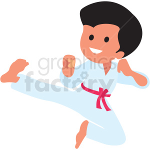 cartoon boy doing karate clipart. Commercial use image # 409981