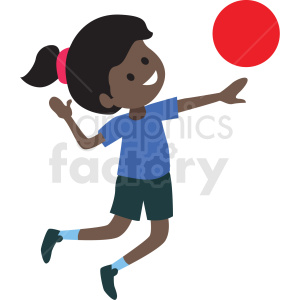cartoon African American girl playing ball clipart. Commercial use image # 409987