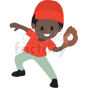 cartoon African American boy playing baseball clipart. Commercial use image # 409991
