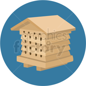 beehive house vector blue background