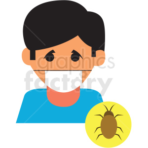 boy with virus cartoon vector icon