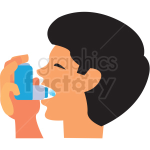 cartoon boy using asthma inhaler vector icon clipart. Royalty-free image # 410113