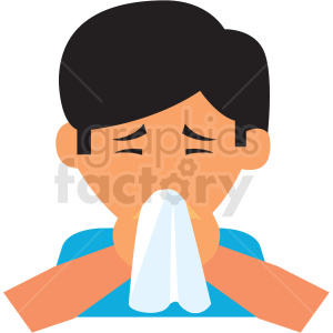boy blowing his nose vector icon clipart. Commercial use image # 410121